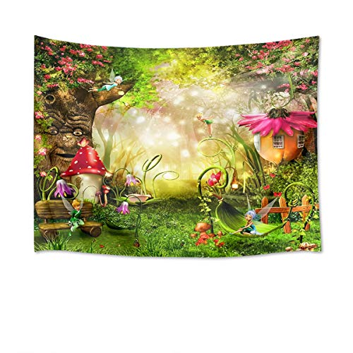 HVEST Fairy Tale Forest Tapestry Wall Hanging Spring Scenery Tapestry Magic Mushroom House and Tree Tapestry for Kids Girls Bedroom Living Room Dorm Party Decor,80Wx60H inches