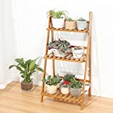 LIZX Multi-Tier Foldable Bamboo Flower Rack, Flower Pot Display Stand, Living Room Balcony Plant Stand ( Size : 70cm )