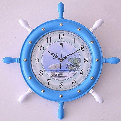 GZMEI Creative/Wall Clock, Living Room Bedroom European Clock/Imports Suzuki Movement Rudder Mute Clock/Modern Mediterranean Clock