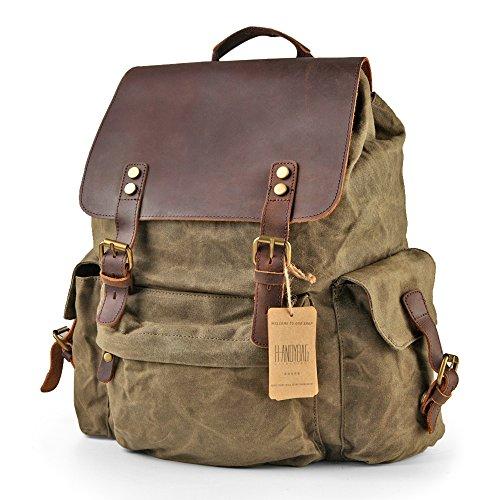 H-ANDYBAG Waxed Canvas Backpack Bag Rucksack Men Jungle Green 15.6 Inch Laptop