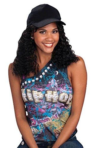 Hip Hop Girlfriend Wig & Hat Set 80's Rapper Girl Women's Costume Accessory