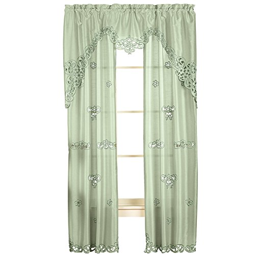 Collections Etc Elegant Scroll Silk Like Semi Private Rod Pocket 2 Panel Window Curtain Set, Sage Green, 84