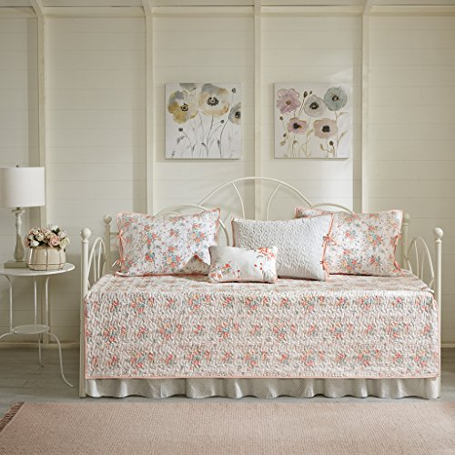 Madison Park Serendipity 6 Piece Cotton Percale Reversible Daybed Cover Set Coral Daybed