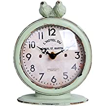 "NIKKY HOME Shabby Chic Pewter Round Quartz Table Clock with 2 Birds, 4.75"" x 2.5"" x 6.12"", Light Green"