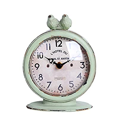"NIKKY HOME Shabby Chic Pewter Round Quartz Table Clock with 2 Birds, 4.75"" x 2.5"" x 6.12"", Light Green - Body is made of pewter and resin From the Shabby Chic Cottage Collection Requires one AA battery (not included) - clocks, bedroom-decor, bedroom - 51sk BDdNjL. SS400  -"