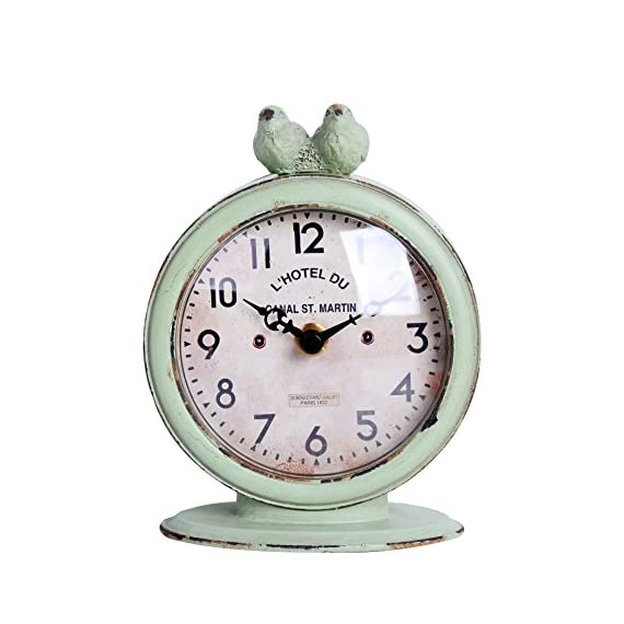 "NIKKY HOME Shabby Chic Pewter Round Quartz Table Clock with 2 Birds, 4.75"" x 2.5"" x 6.12"", Light Green - Body is made of pewter and resin From the Shabby Chic Cottage Collection Requires one AA battery (not included) - clocks, bedroom-decor, bedroom - 51sk BDdNjL. SS570  -"