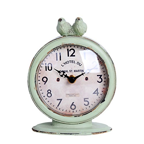 "51sk BDdNjL - NIKKY HOME Shabby Chic Pewter Round Quartz Table Clock with 2 Birds, 4.75"" x 2.5"" x 6.12"", Light Green"