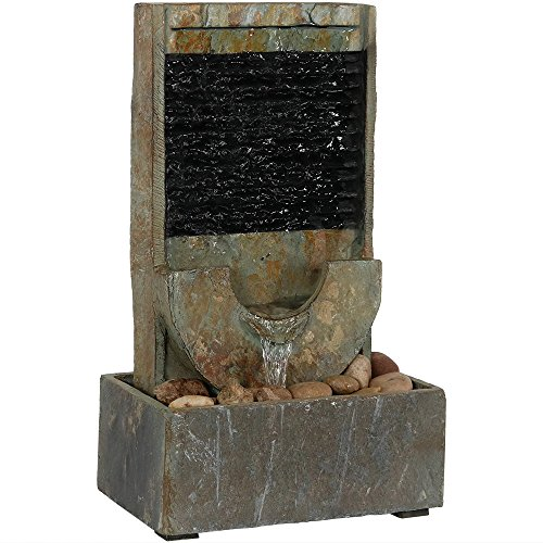 Sunnydaze Half Moon Slate Indoor Tabletop Water Fountain, 16 Inch