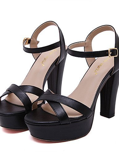 ShangYi Black Chunky almond Women's Shoes Dress Open Sandals Toe Leatherette Heel Almond rx6rwC7Aq