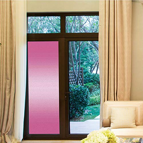 YOLIYANA Non-Toxic Window Film,Ombre,for Indoor & Outdoor Window,Pink Candy Sweets Inspired Girls Room Colored Vivid,24''x70''