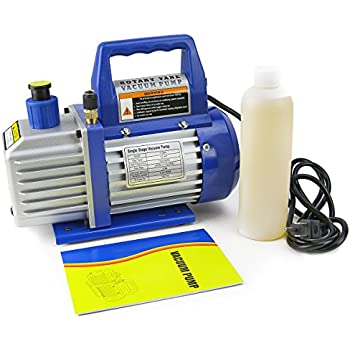 XtremepowerUS 1/3 HP Single Stage Rotary Vane Vacuum Pump 4 CFM Air Conditioner Refrigeration HVAC Air AC A/C R410a R134
