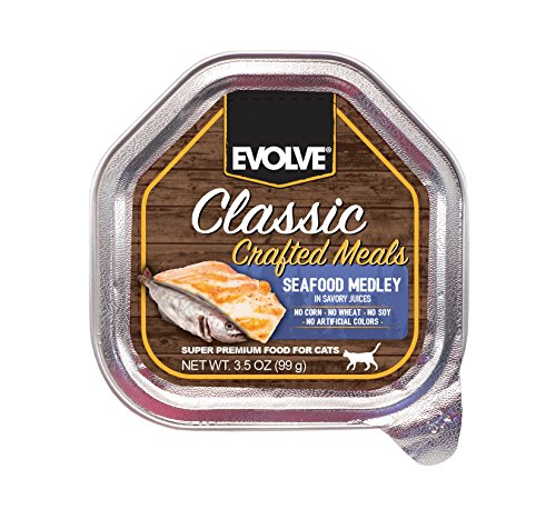 Evolve Classic Crafted Wetcup Meals for Cats, Seafood Medley Recipe, 3.5-Ounce Wetcups (Pack of 15)
