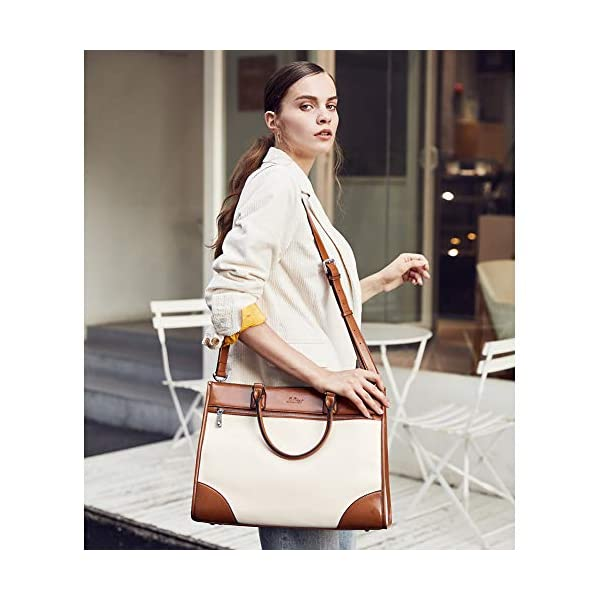CLUCI Womens Briefcase Oil Wax Leather 15.6 Inch Laptop Business Vintage Ladies Large Capacity Shoulder Bag Beige with Brown 2