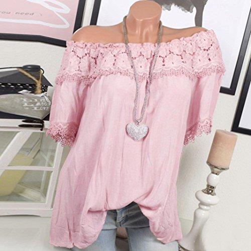 Automne lgance Vintage Loose Blouse Personnalit Hors Manches Unique Taille Plus Courtes Mode Classique l'paule Nouveau Hiver Cebbay de Chic Femmes Rose Chemise qxP7SxFT