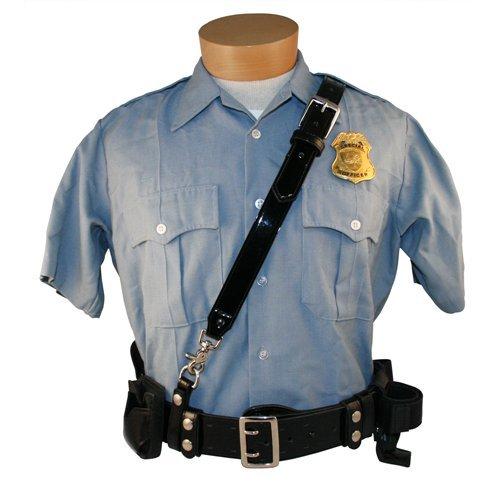 Boston Leather Sam Browne Shoulder Strap w/D Rings Black Clarino Regular