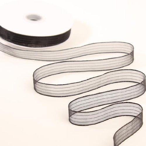 0.625' Ribbon - 2 Rolls Measuring .625'' Wide X 50 Yards Long Each, Sheer Chiffon Black Ribbon with Metallic Iridescent Stripes. 100 Yards Total!