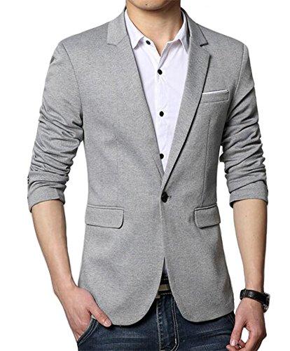 (Men's Premium Casual One Button Slim Fit Blazer Suit Jacket (3625 Grey, M))