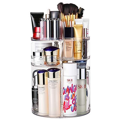 Jerrybox 360 Degree Rotation Makeup Organizer Adjustable Multi-Function Cosmetic Storage Box, Large Capacity, Fits Toner…
