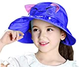 Bienvenu Kids Girls Wide Brim Visor Sun Hat - UV Protection Foldable Beach Cap,Blue