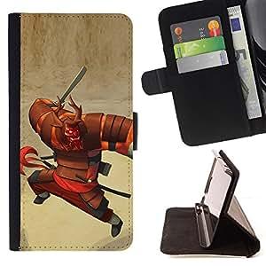 - samurai character cartoon Japanese warrior - - Prima caja de la PU billetera de cuero con ranuras para tarjetas, efectivo desmontable correa para l Funny HouseFOR Samsung ALPHA G850