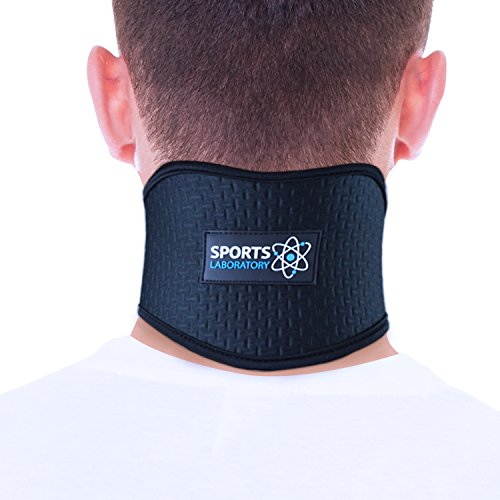 SPORTS LABORATORY Neck Support Brace for Neck Pain with Self Heating Magnets & Tourmaline Adjustable Cervical Collar