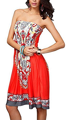 Summer Sexy Brock Boho M Womens Red1 Watermelon Tube Floral Bohemian Sundress Strapless Baroque Vintage Dress Beachwear 7dSwRdqP