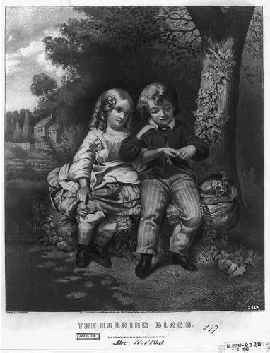 Photo: The Burning Glass,1860,Currier & Ives Photo,Children,Boy & (Currier & Ives Glass Print)