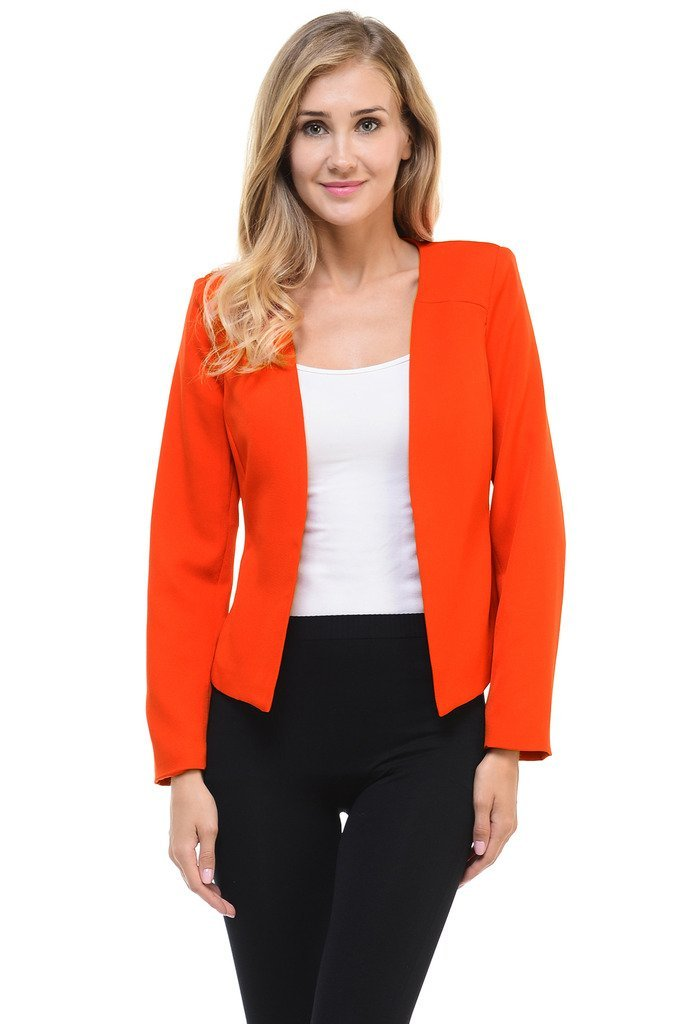 Auliné Collection Women's Candy Color Tailored Fit Open Suit Jacket Blazer Red 2XL