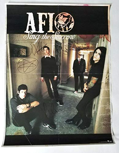 "AFI band REAL hand SIGNED 18x24"" Sing The Sorrow Promo Poster COA Davey Havok +3"