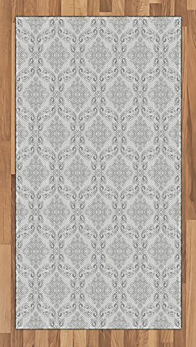 House Living Furniture Regency Room (Ambesonne Grey Area Rug, Victorian Antique Tile Pattern with Royal Curlicues Old Rich Scroll Regency Motifs, Flat Woven Accent Rug for Living Room Bedroom Dining Room, 2.6 x 5 FT, Grey Pale Grey)