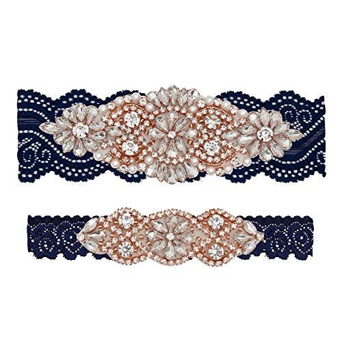 Yanstar Wedding Bridal Garter Navy Stretch Lace Bridal Garter Sets with Rose Gold Rhinestones Clear Crystal Pearl for Wedding ()