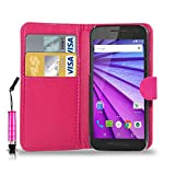 GBOS MOTOROLA MOTO G 3 (3rd Gen) LEATHER WALLET BOOK FLIP CASE COVER POUCH CARD & CASH SLOT WITH MINI TOUCH STYLUS PEN PINK