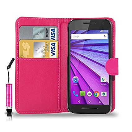 newest 38062 e85f3 N+ India Rich Leather Stand Wallet Flip Cover Book Pouch Phone Bag Antique  Leather Motorola Moto G3 with Touch Stylus Pen Pink