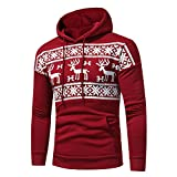 zenicham Couple Christmas Deer Long Sleeved Hoodie Sweater, Christmas Pullover Sweatshirts
