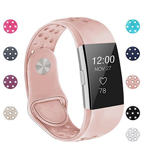 POY Replacement Bands Compatible for Fitbit Charge 2, Adjustable Breathable Wristbands with Air Holes Straps, Small Pink