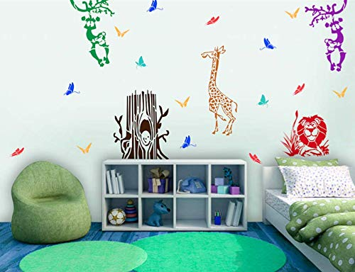 Buy Gallerist Diy Wall Painting Stencils Animal Wall Stencil Design For Kids Room 5 Pieces Stencil Size 18x24 Inches Reusable Online At Low Prices In India Amazon In