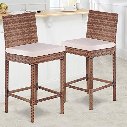 Outstanding Tangkula Patio Wicker Bar Stool With Cushions And Back Support 2 Piece Unemploymentrelief Wooden Chair Designs For Living Room Unemploymentrelieforg