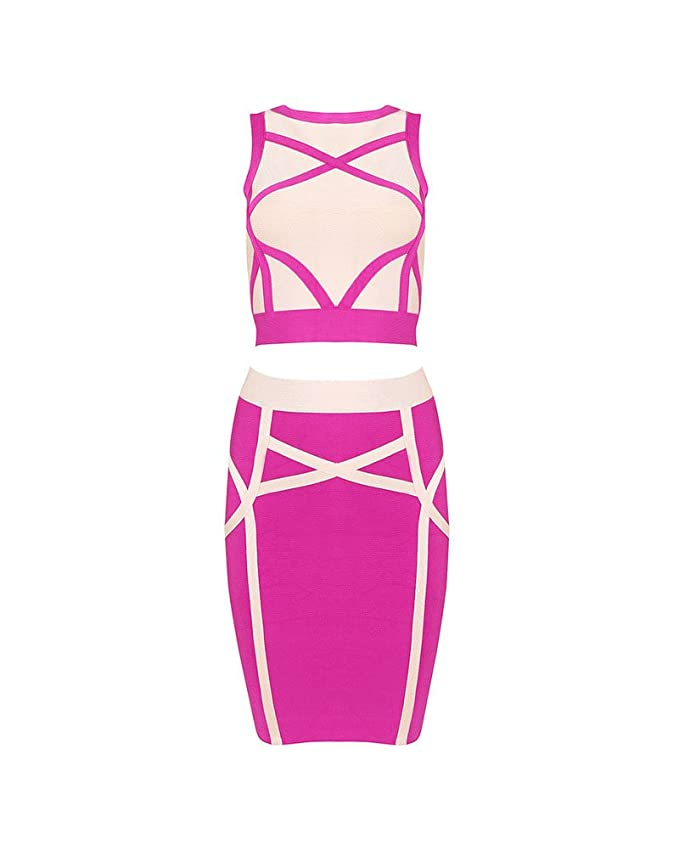 57628d206c5 Whoinshop Women's Pink Skirt Set 2 Pieces Sleeveless Celebrity Bandage Dress  at Amazon Women's Clothing store:
