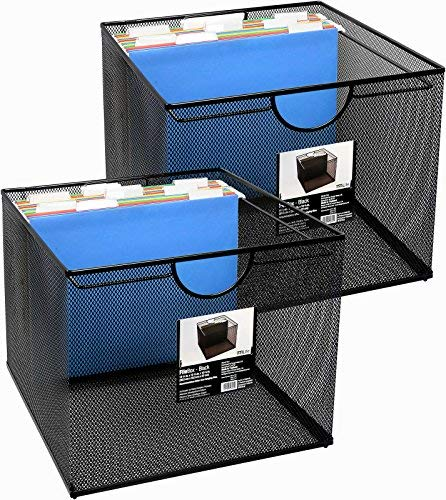 Neat Life Mesh Office File Organizer Storage Box with Side Hanging Rails – Black (2 Pack) ()