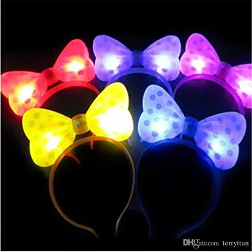 Party Lovers' Led Flashing Lights Bow Headband - 8 Pack Assorted Colors]()