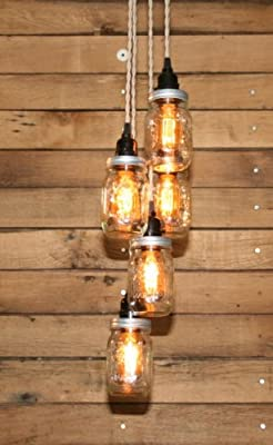Mason Jar Chandelier - 5 Clear Pint Ball Jars - Ball Jar Chandelier - Ceiling Light Fixture hand crafted by Industrial Rewind