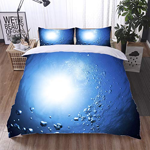 HOOMORE Single-Sided Pattern Custom Polyester Bed Cover - 3-Piece Duvet - All Seasons, depict - Underwater Bubbles Beautiful Turn Blue Background with Sunlight-Queen ()
