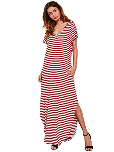 Verdusa Women's V Neck Side Pockets Split Hem Beach Long Maxi Dress Burgundy&White M ()
