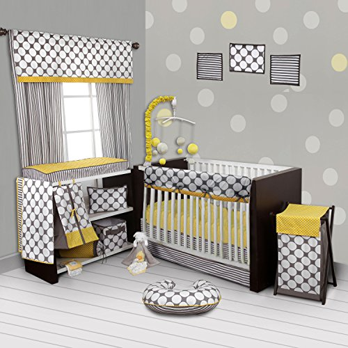 - Bacati Stripes/Dots 10-Piece Nursery-in-A-Bag Crib Bedding Set with Long Rail Guard, Grey/Yellow