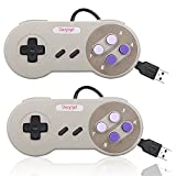 Denmer Classic SNES Retro USB Super Nintendo Controller, USB PC Controller, Raspberry Pi Controller for Windows PC / MAC / Raspberry Pi (2 Pack)