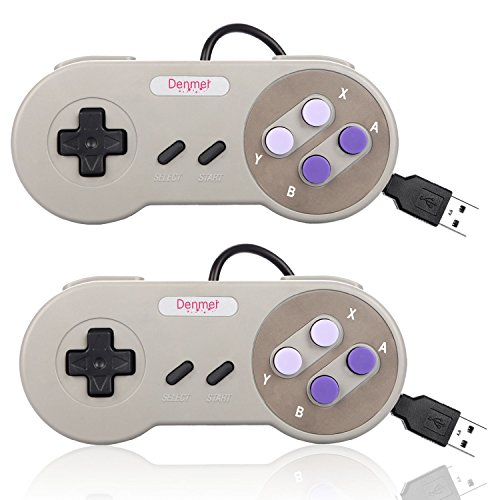 Denmer 2 Pack SNES Retro USB Super Famicom Controller Gamepad Joystick, Classic Controller Joypad Gamestick for Windows PC Linux Raspberry Pi 3