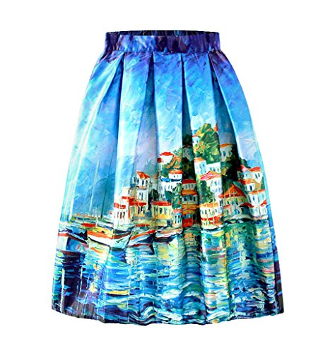 Smile YKK Modern Geblümt Damen Frauen Sommer Knielanges Rock Faltenrock Skater-Rock Sommerrock Vintage Röcke mit Mehren Farben Blau 8LVUMQ