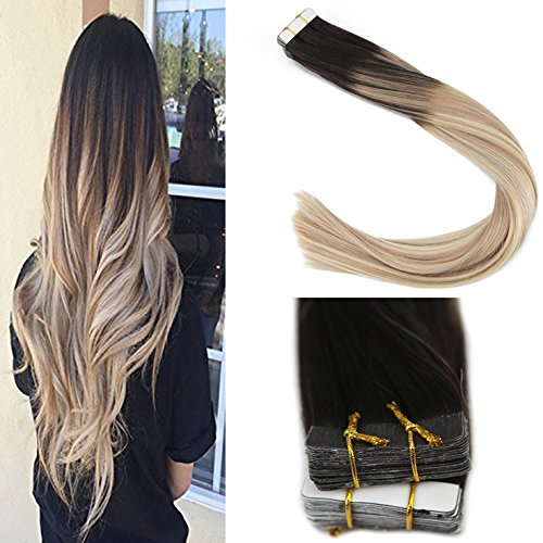 Sunny Tape in Hair Extensions Human Hair 16 inch 50g/pack 20pcs Seamless Skin Weft Remy Straight Hair Color Natural Black Fading to Light Brown Highlight with Platinum ()