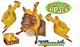 Toysmith Chicken N' Egg Squishy Toy Party Set Bundle - 3 Pack