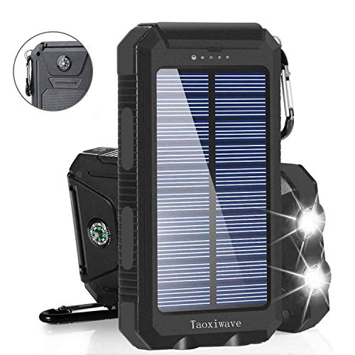 Solar Charger Solar Power Bank 20000mAh Waterproof Portable External Backup Outdoor Cell Phone Battery Charger with Dual LED Flashlights Solar Panel for iPhone Android Cellphones (Black) (Best Android Phone Out)